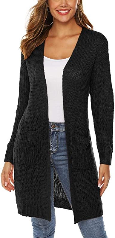 SIMANLI Ladies Cardigan Sweaters Long Sweater for Women Casual Open Front Sweater Loose Cardigans Sweaters with Pocket