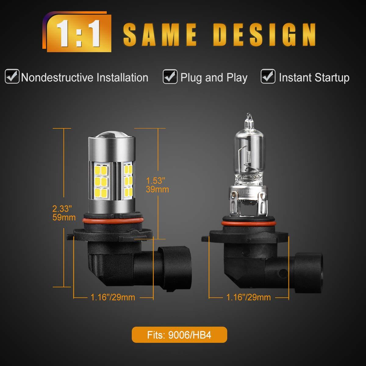 SEALIGHT Xenon White 6000K Pack of 2 27 SMD DOT Approved 9006//HB4 LED Fog Lights Bulbs