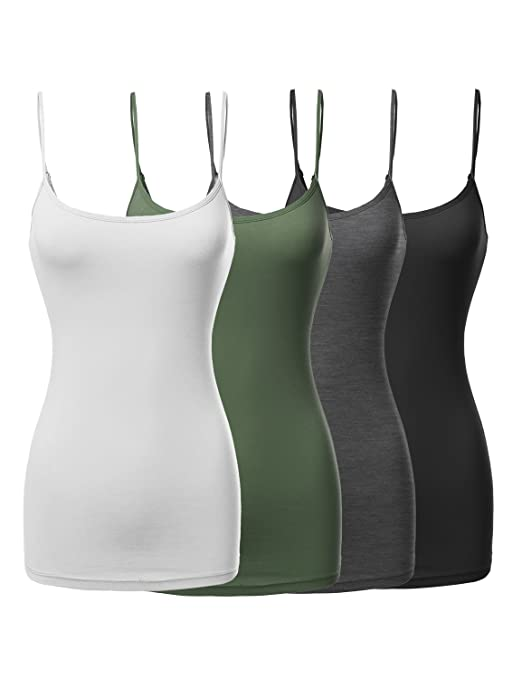 Made By Emma Women's Basic Solid Long Length Adjustable Spaghetti Strap Tank Top by Made By Emma