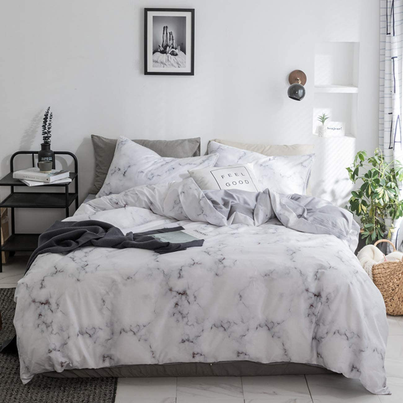 PromQueen Bedding Set Soft Cotton Quilt Cover Set White Marble Pattern Comforter Cover and Pillow Shams Machine Washable Hypoallergenic Twin
