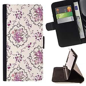 Retro Flower Pattern Vignette - Modelo colorido cuero de la carpeta del tirón del caso cubierta piel Holster Funda protecció Para Apple iPhone 5C