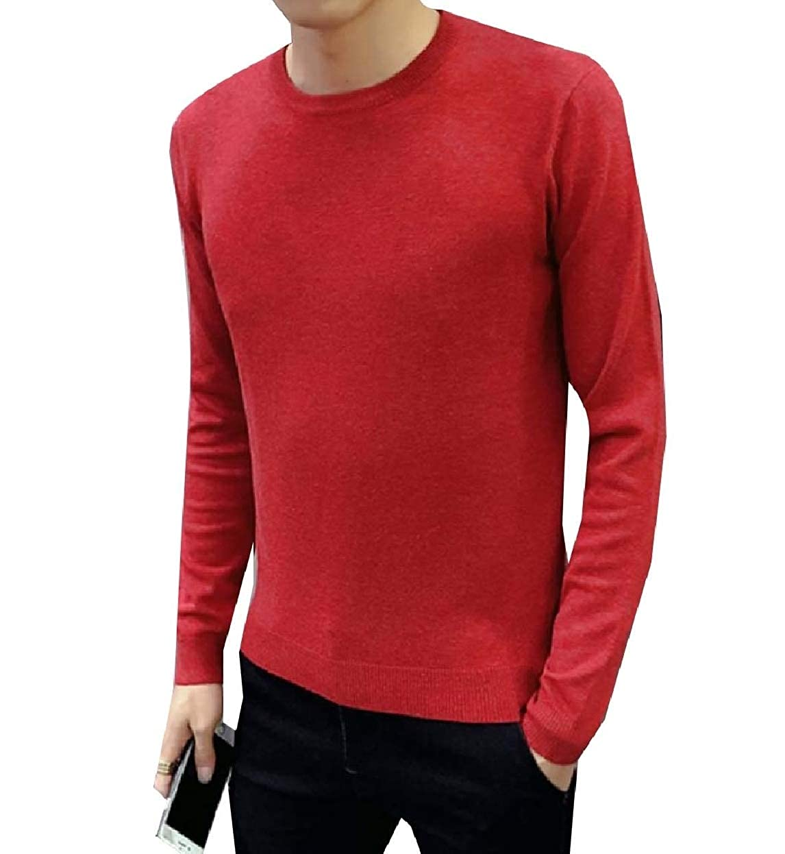 Zimaes-Men Knit Crewneck Classic-Fit Autumn Fit Solid Sweater Blouse