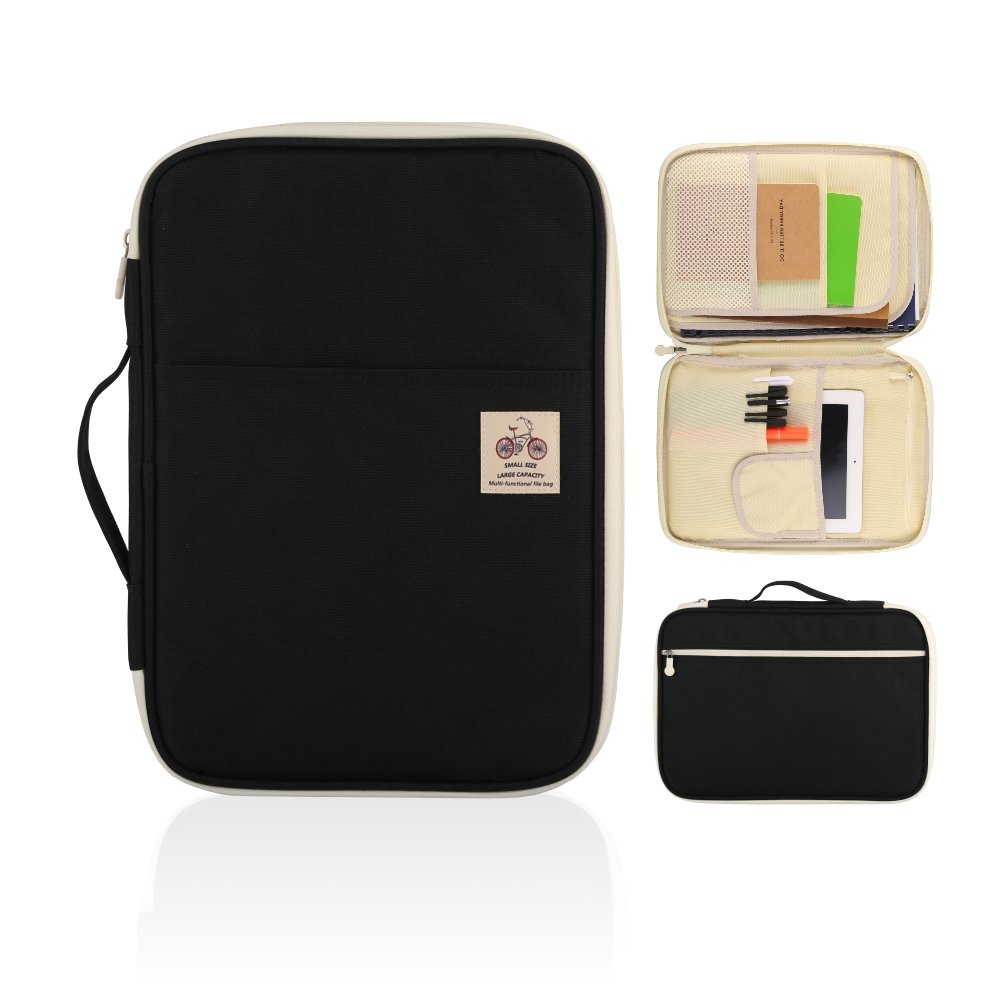 YOUSHARES A4 Documents Bag Portfolio Organizer Holder - Multifunctional Travel Pouch Handy Zippered Case for Notebook, Ipad, Documents and Pens (Black)