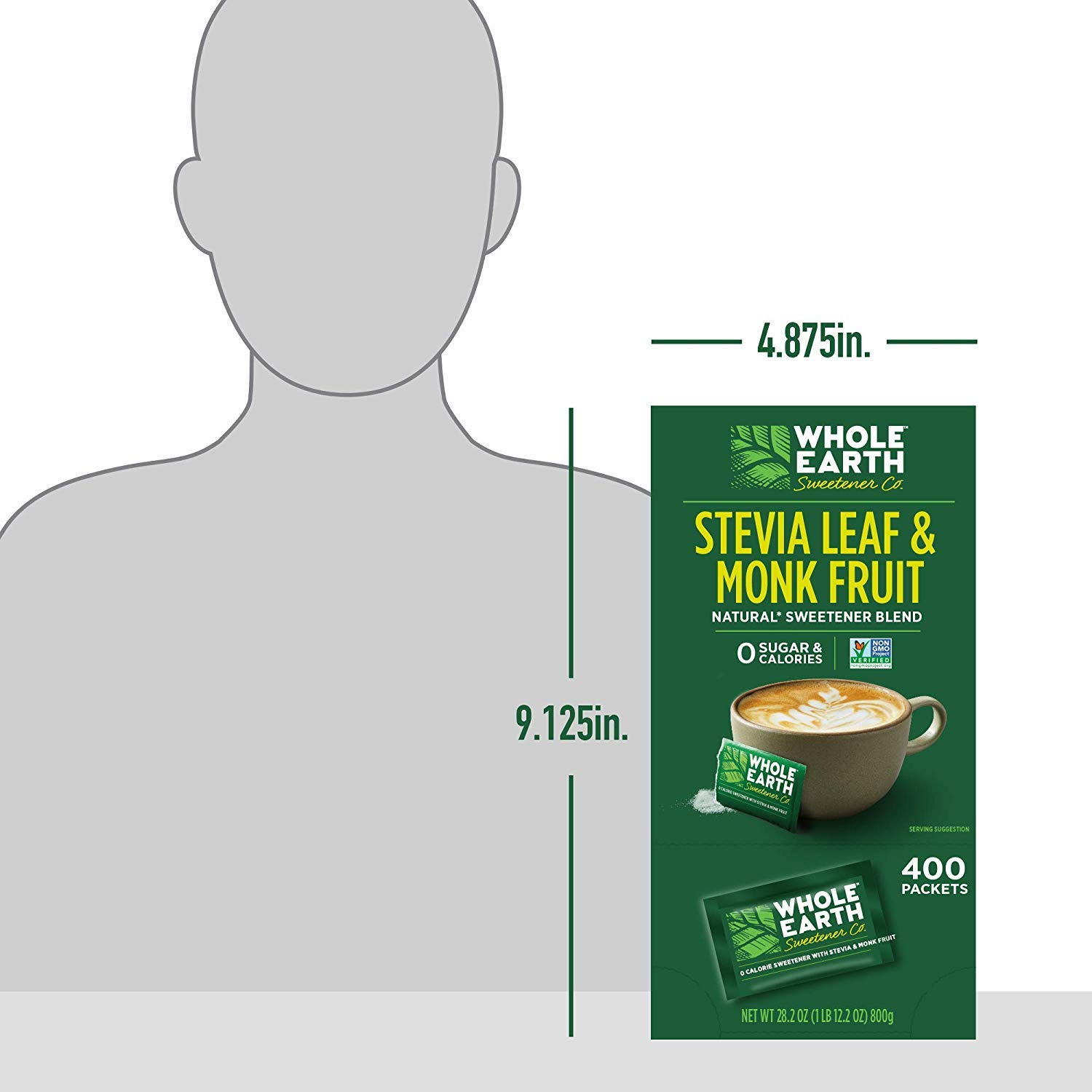 WHOLE EARTH SWEETENER Stevia Leaf and Monk Fruit Sweetener, Erythritol Sweetener, Sugar Substitute, Zero Calorie Sweetener, 400 Stevia Packets (400 Stevia Packets (Count of 2))