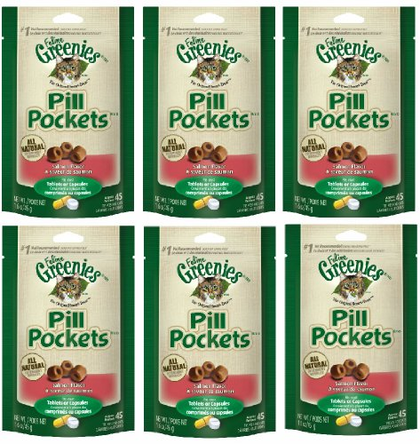 Greenies Pill Pockets for Cats , Salmon 6-pack