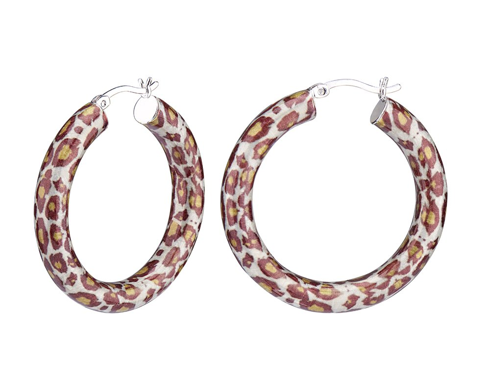 G&H Sterling Silver and Enamel 35mm Click-Top Hoop Earrings with Leopard Print Designs
