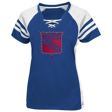 new concept 8c9ce c9207 Majestic New York Rangers Women's NHL Magic Moment Jersey Top Shirt