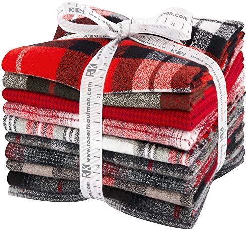 Mammoth Flannel Red 10 Fat Quarters Robert Kaufman Fabrics FQ-1451-10 - Gingham Flannel Fabric