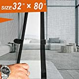 Screen Door 32,  French Door Magnets 32 X 80 Fit Doors Size Up to 30''W X 79''H Max with Full Frame Velcro Exterior Back Screen Door Keep Fly Mosquito Bug Out