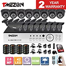 [Better Than 1080N]TMEZON 16CH 1080N AHD Security DVR Video System 8 Bullet and 8 Dome 2.0MP 2000TVL Night Vision Outdoor AHD Security Camera P2P QR Code Scan Easy Setup 1TB HDD