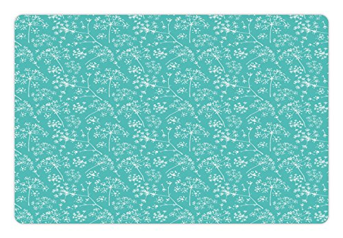 Lunarable Turquoise Pet Mat for Food and Water, Delicate Umbrellas Parsley Dill Blossom Wildflower Summertime Plants Artwork, Rectangle Non-Slip Rubber Mat for Dogs and Cats, Seafoam White