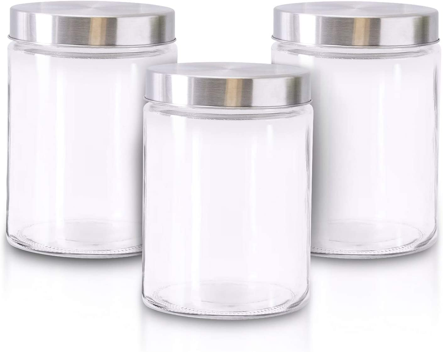 Glass Jars for Kitchen – Set of 3 Medium Food Storage Containers – 42Oz Storage Jars with Metallic Lids – Suitable for Snacks, Coffee, Pet Treats – Airtight Screw-On Lid