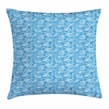 Sea Horse Throw Pillow Cushion Cover, Hand drawn aquatic Doodles with Coral Reef Seashells Sea Horses and Starfishes, Decorative Square Accent Pillow Case, 18 X 18 Inches, Blue White