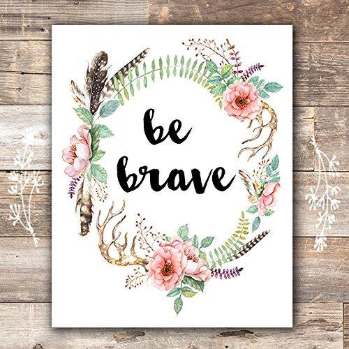 Be Brave Floral Wreath Art Print - Unframed - 8x10