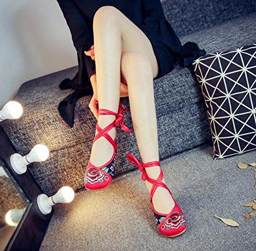 DESY Gestickte Schuhe, Sehnensohle, ethnischer Stil, weibliche Tuchschuhe, Mode, bequem, lässig innerhalb der Zunahme Red