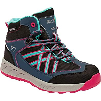66f1b925b1a4b0 Regatta Unisex Kid's Samaris Mid Junior Walking Boot High Rise Hiking  (Moroccan Blue/Duchess