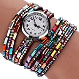 Duoya Women's Fashion Colorful Crystal Beads and Bricks Watch Wrap Around Leather Band D011