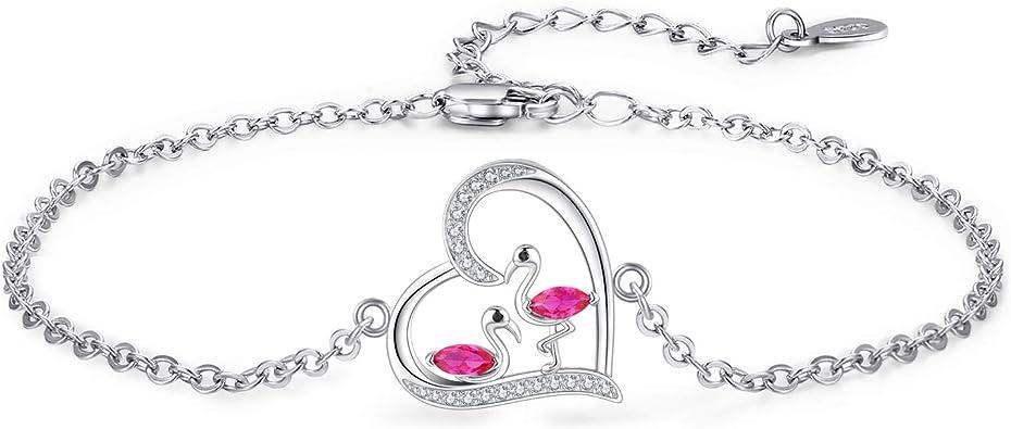 Girls Pink flamingo necklace bracelet jewelry set Flamingo birthday jewelry