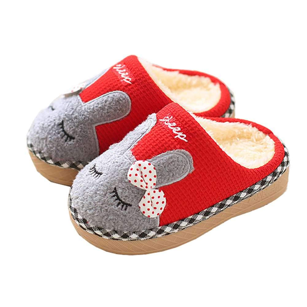 Luobote Kids Home Slippers Girls Boys Toddler Cute Bunny Fur Warm Winter Indoor Shoes