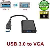 Eachbid adaptador USB 3.0A VGA, múltiples visualización Gráficos de vídeo para PC portátil Ventana 7810y más, hasta 1920x 1080resolución, fácil de instalar negro