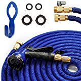 2017 50' Expandable Garden Hose. Kink-Free Water Hose (50 Feet) with 8 Set Spray, Hanger. Hose with 3 Layer Latex Inner Tube, Solid Brass Connectors, Strongest Expanding Hose on the Market
