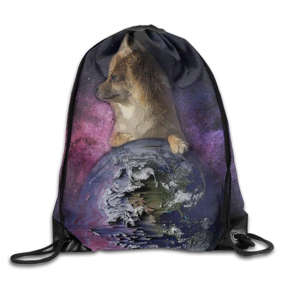 Dog Space Drawstring Backpack Rucksack Shoulder Bags Training Gym Sack For Man And Women