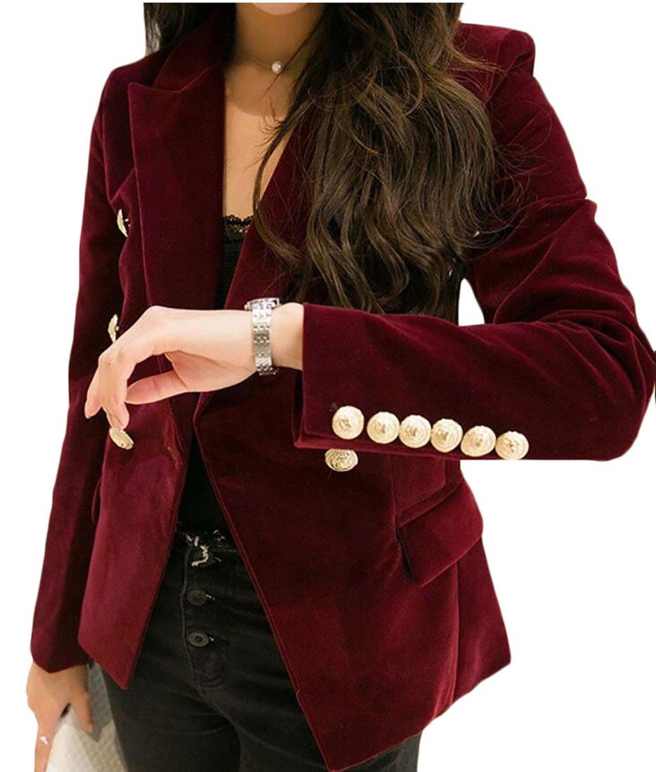 Generic Women Slim Velvet Blazer Jacket Double Breasted Blazers