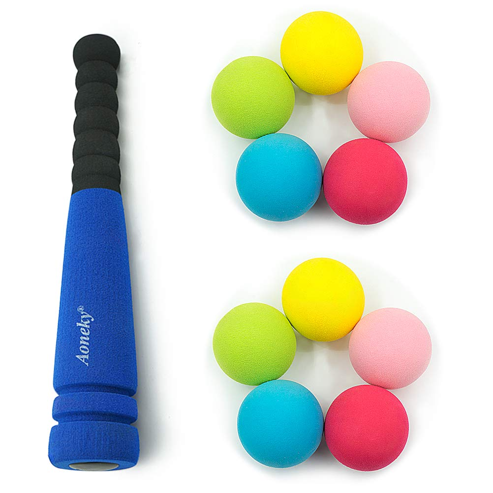Safe Soft Tball Kits with Foam Balls for Kids Age 2-3 Years Old 11.8 inches Aoneky Mini Foam Baseball Bat Set