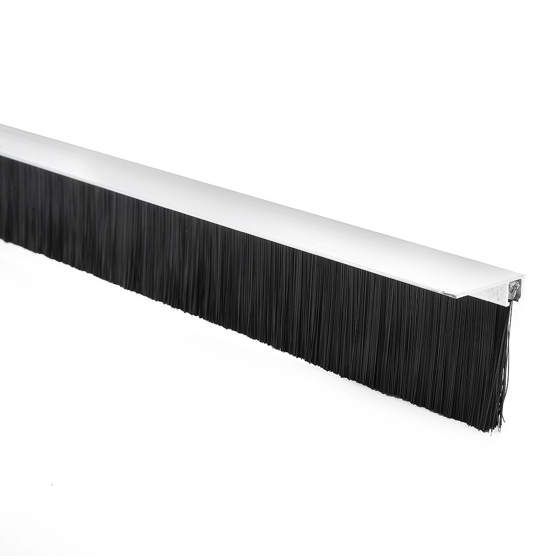 uxcell Door Bottom Sweep F-Shape Aluminum Alloy Base with 1.6-inch Black Nylon Brush 39-inch x 2-inch