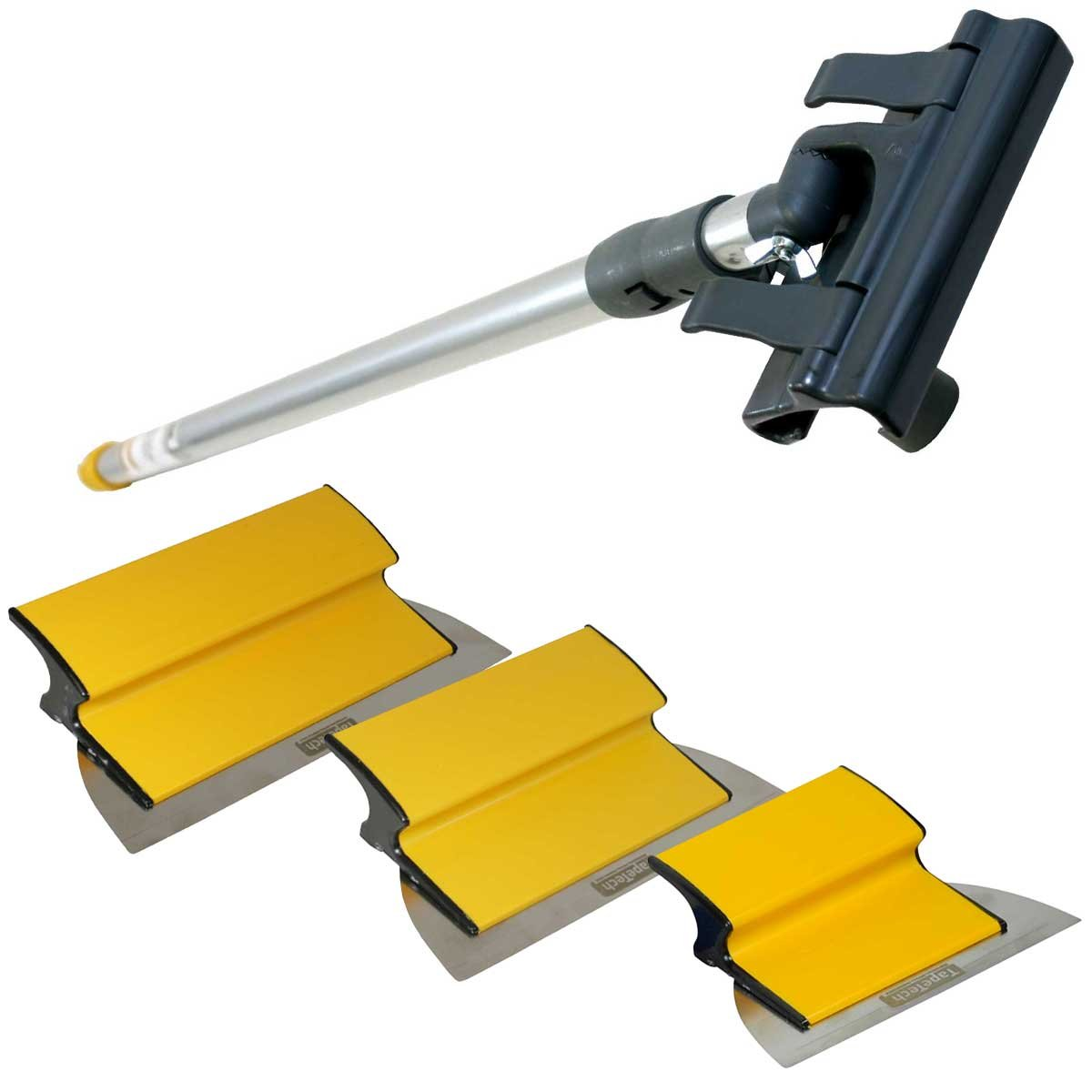 TapeTech Drywall Finishing Tool Smoothing Blade / Wipe Down Knife Triple Combo Set with Handle 7'' - 10'' - 12'' by TapeTech