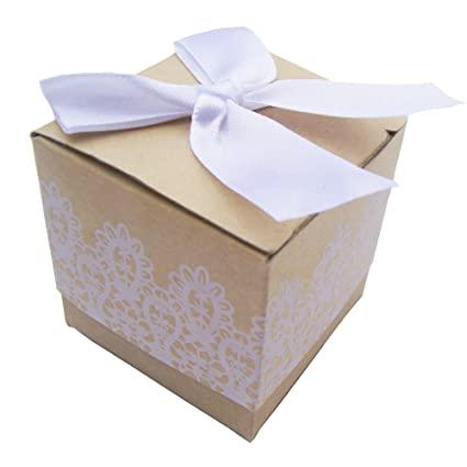 lifehappy 50pcs kraft boxeswedding candy boxes 2x2x2 inchjewelry gifts box for vintage