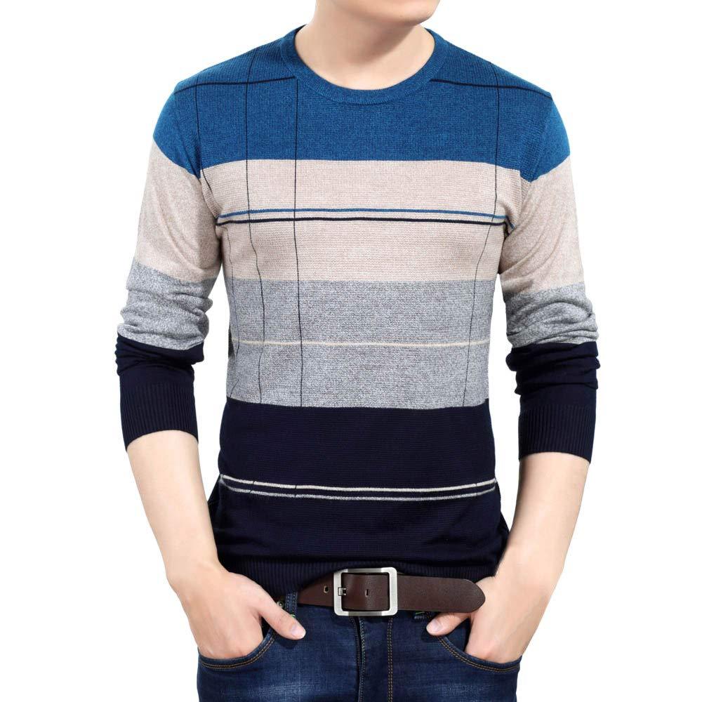 Sweater For Men, Clearance Sale! Pervobs Men's Autumn Winter Knitwear Sweater Slim Skinny Breathable Jumper Outwear(L, Blue)