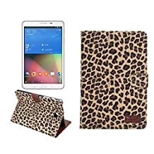 Samsung Galaxy Tab A 8.0 Case, NOKEA [Ultra Slim] [Dual Layer] [Anti-Scratches] Lightweight Premium PU Leather & PC Wallet Case Cover for Samsung Galaxy Tab A 8.0 Inch SM-T350 (Leopard Gold)
