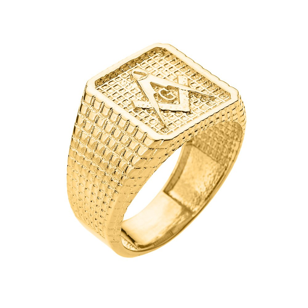 Men's Solid 10k Yellow Gold Textured Band Masonic Ring (Size 8.75)