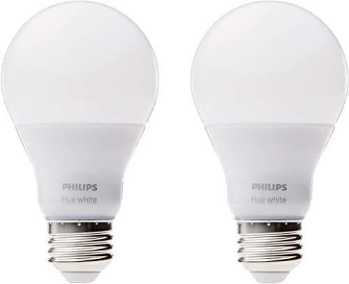 Philips Hue White A19 2-Pack 60W Equivalent Dimmable LED Smart Bulbs Hue Hub Required