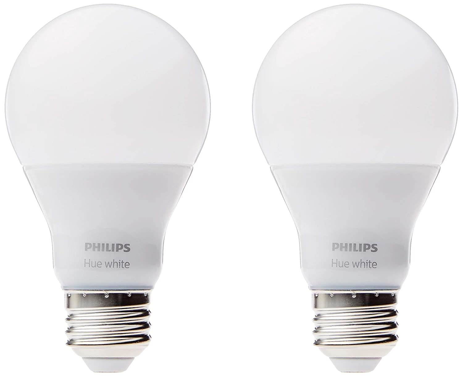 Philips Hue White A19 2 Pack 60W Equivalent Dimmable LED Smart Bulb Works with Alexa Apple HomeKit and Google Assistant