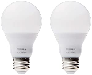 Philips Hue White A19 2-Pack 60W Equivalent Dimmable LED Smart Bulb (Works with AlexaApple HomeKitand Google Assistant)