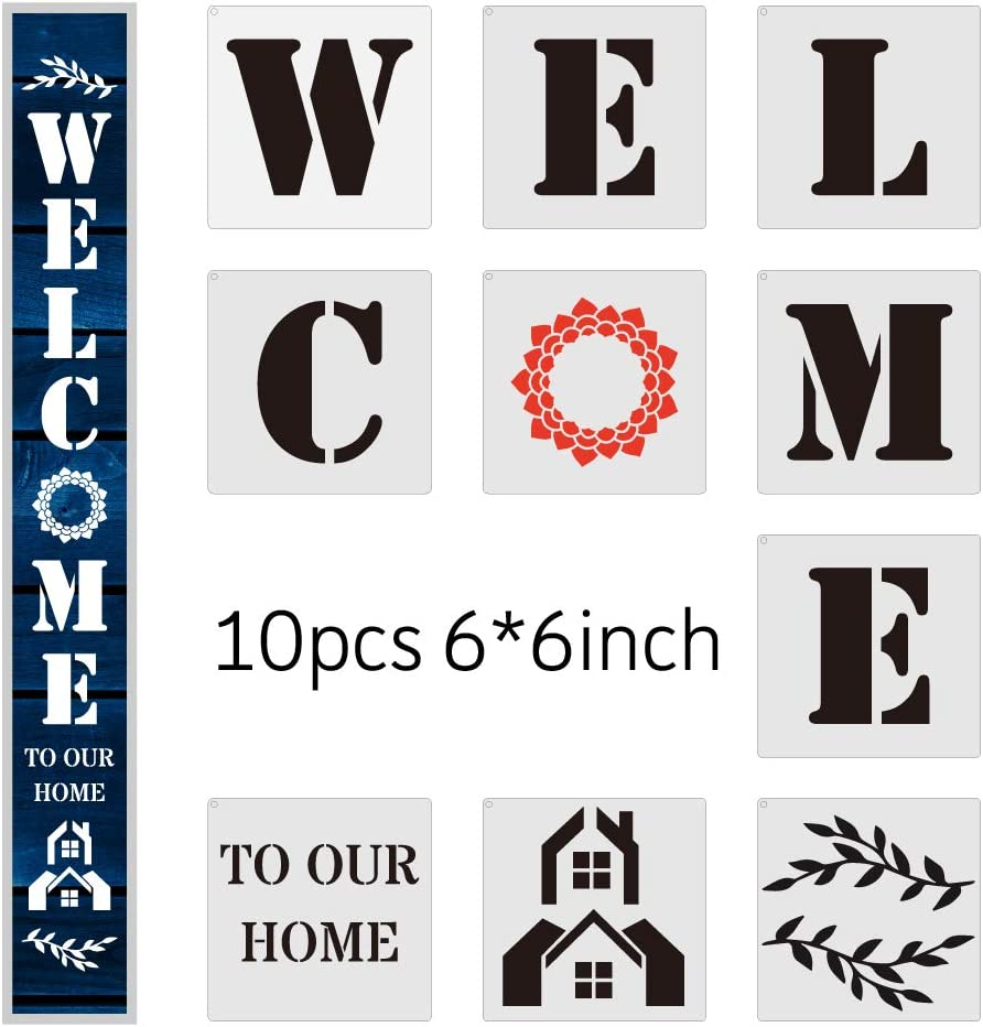 Welcome to Our Home Stencil Set - Wenplus 10PCS Welcome to Our Home Sign Stencils Templates for Painting on Wood, Porch Signs & Front Door Decors