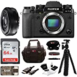Fujifilm X-T2 Mirrorless Digital Camera (Body Only) w/27mm F2.8 R Lens + Focus 64GB Gadget Bag