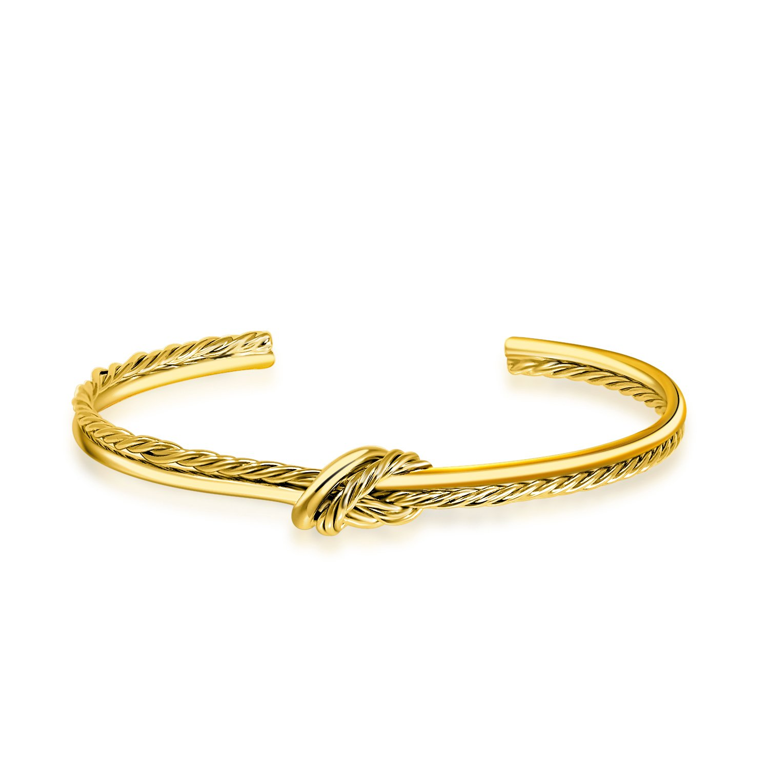 I'S ISAACSONG 14k Gold Plated Adjustable Cable Wire Twisted Band Infinity Love Forever Knot Open Cuff Bangle Bracelet Set for Teen Girls Women (14k Yellow Gold Plated)