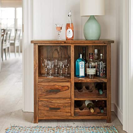B.L Wood Sheesham Wood Stylish Bar Cabinet for Living Room | Wine Storage| Brown Finish