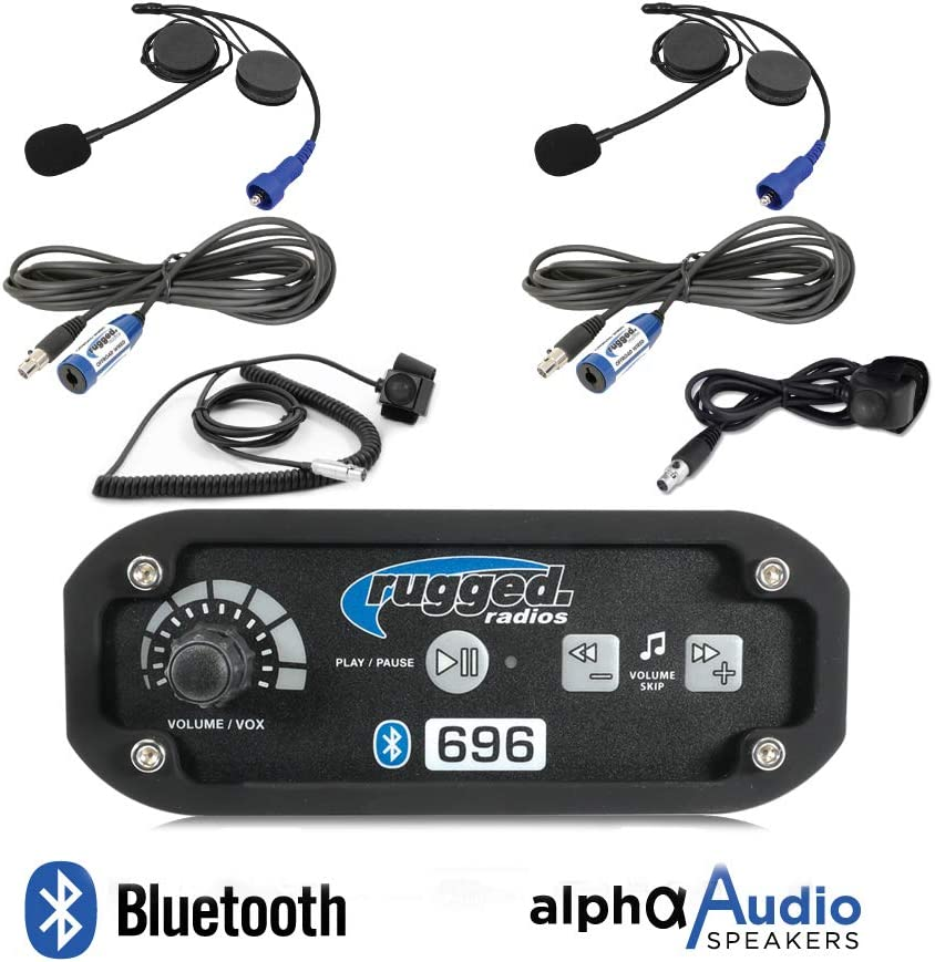Push to Talk Cables and Intercom Cables Rugged Radios RRP696 Black Out Series Intercom 2 Place Kit with Helmet Kits
