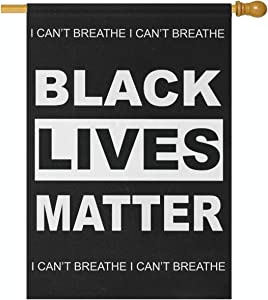 Joysay Double Sided Garden Flag - Black Lives Matter Can't Breathe Vertical Flag House Yard Decor Banner 28 x 40 Inch