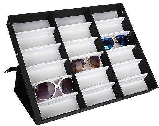 Semme Caja expositora para Gafas de Sol, 18 Ranuras para Gafas, Estuche de Almacenamiento con Bandeja Plegable para Gafas, Gafas, Joyas, Organizador: Amazon.es: Hogar