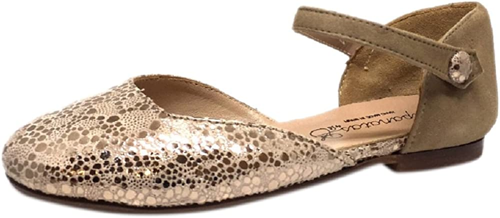 Papanatas by Eli Girls Soft Suede Metallic Ankle Strap Ballet Flat Mary Jane