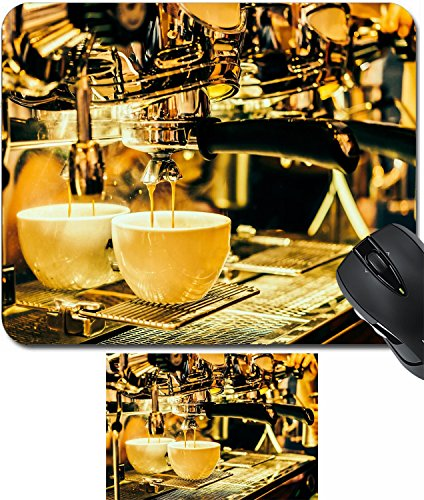 MSD Mouse Wrist Rest and Small Mousepad Set, 2pc Wrist Support design: 35298147 Seletive Coffee cup with coffee machine background Vintage effect style pictures