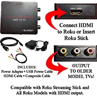 HDMI to 3RCA Composite AV Converter for Roku [Roku 2, Roku 3, Roku 4, Roku Express, Roku Ultra, Roku Premiere, Roku Premiere+ and Roku Streaming Stick (all models)]