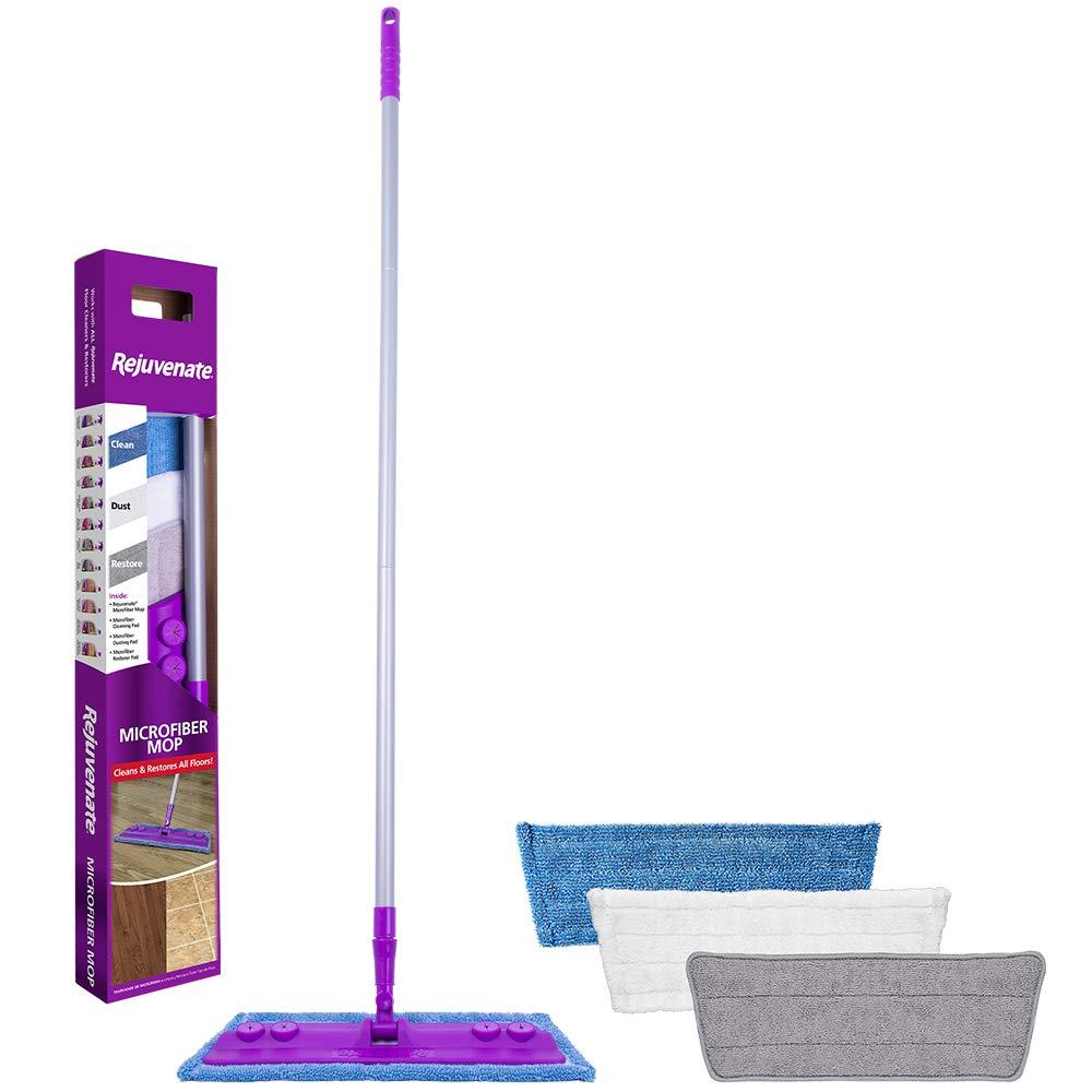 Rejuvenate Microfiber Mop with 3 Reusable Microfiber Pads