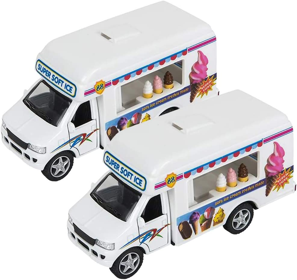 ArtCreativity Diecast Ice Cream Trucks with Pullback Mechanism, Set of 2, Die Cast Vehicles with Realistic Detail, Cool Pretend Play Toy Cars for Kids, Best Birthday Gift, Party Favor for Boys & Girls