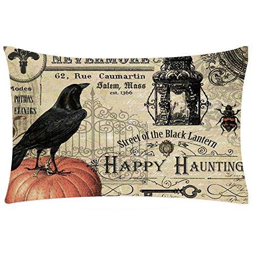2017 New! Litetao Halloween Rectangle Printed Cover Decor Pillow Case Sofa Waist Throw Knitted Cushion Cover (H) (Halloween Home Decor Tour)